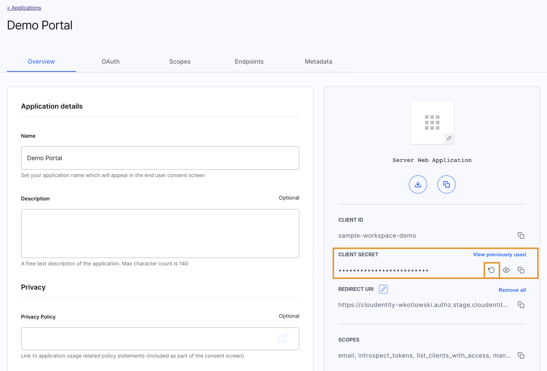 Rotating client secrets in Admin Panel